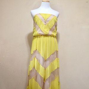 Arden B. Yellow Chevron Maxi Dress M